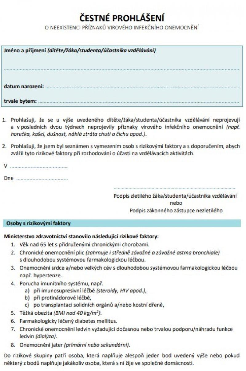 ČESTNÉ PROHLÁŠENÍ o neexistenci příznaků virového infekčního onemocnění