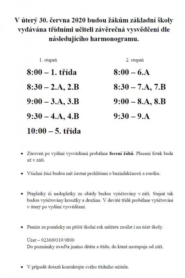 Informace ke konci školního roku