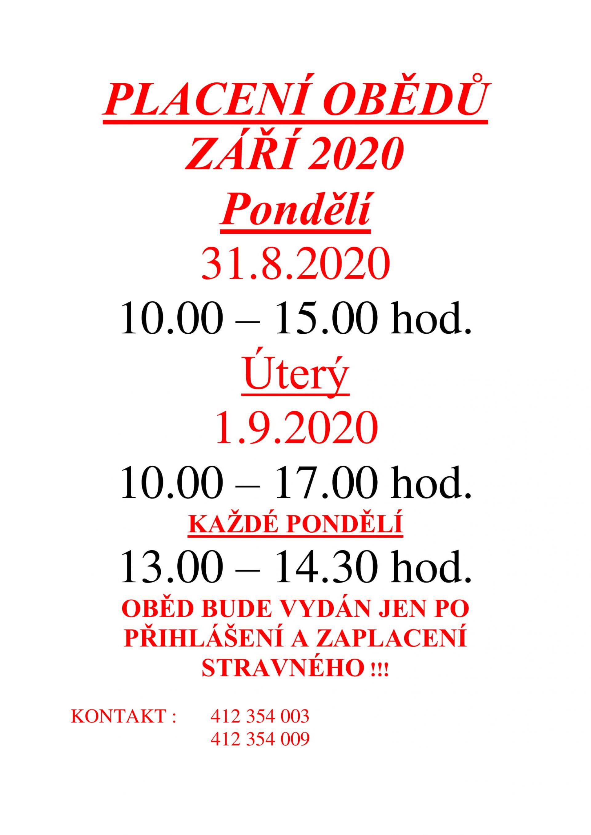 Placení obědů na září 2020