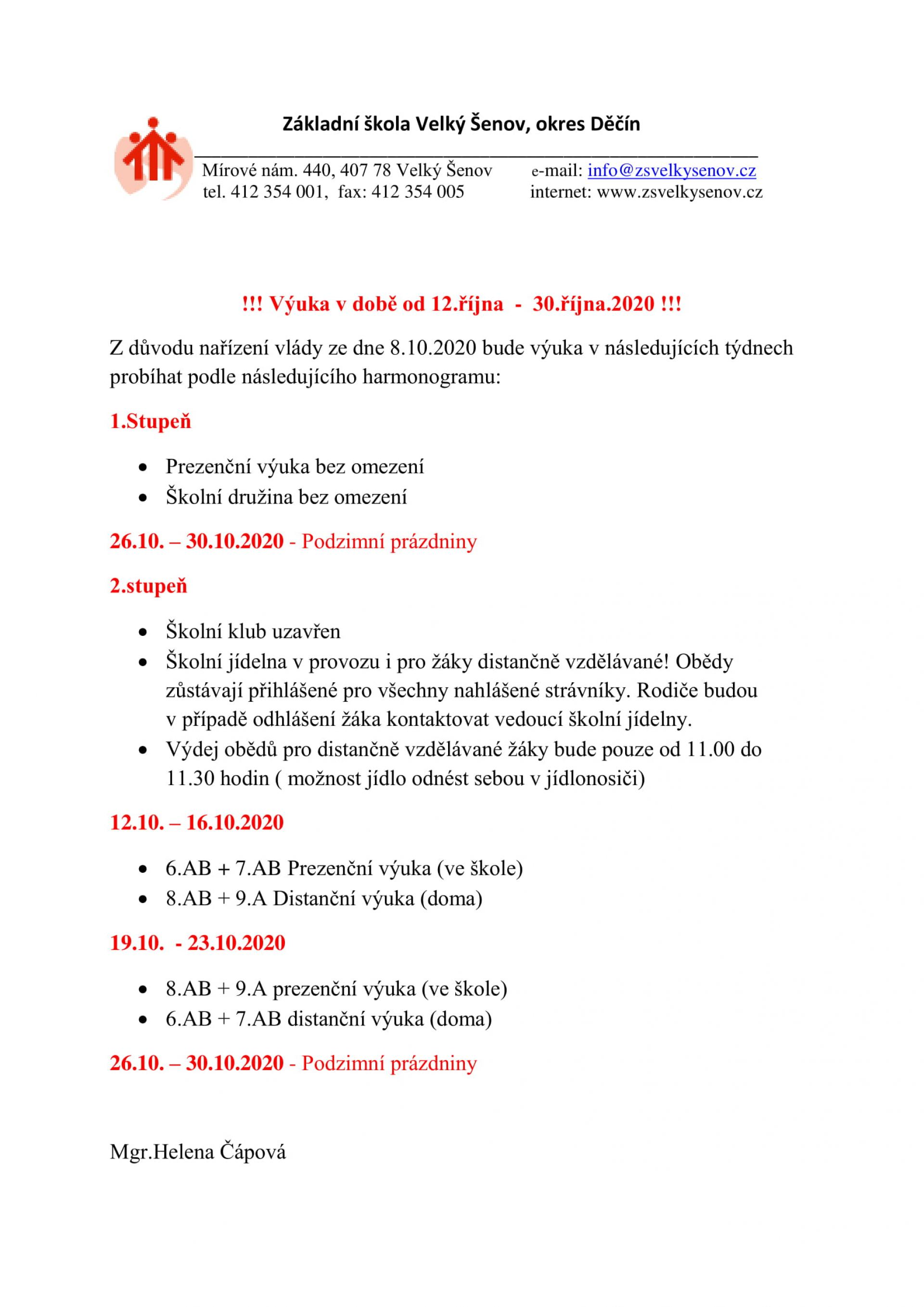 Informace k výuce od 12.10. - 30.10.2020