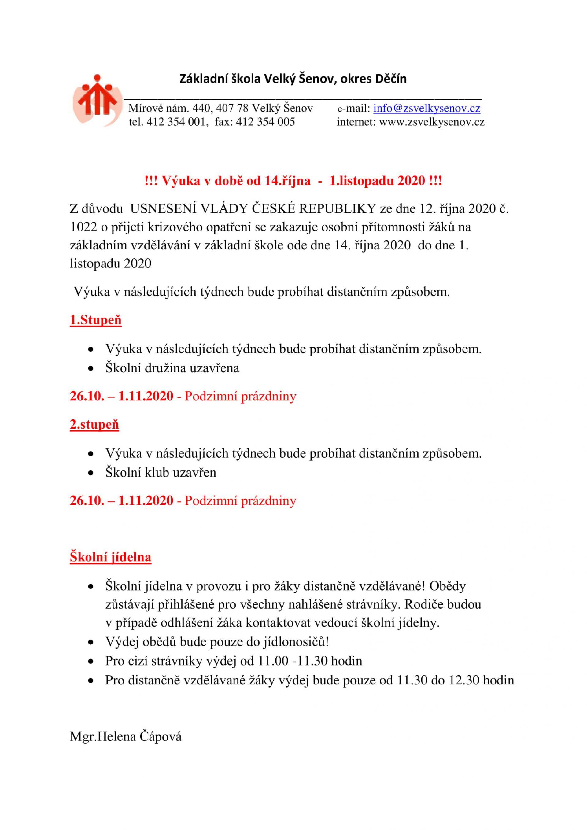 Informace k výuce od 14.10. do 1.11.2020