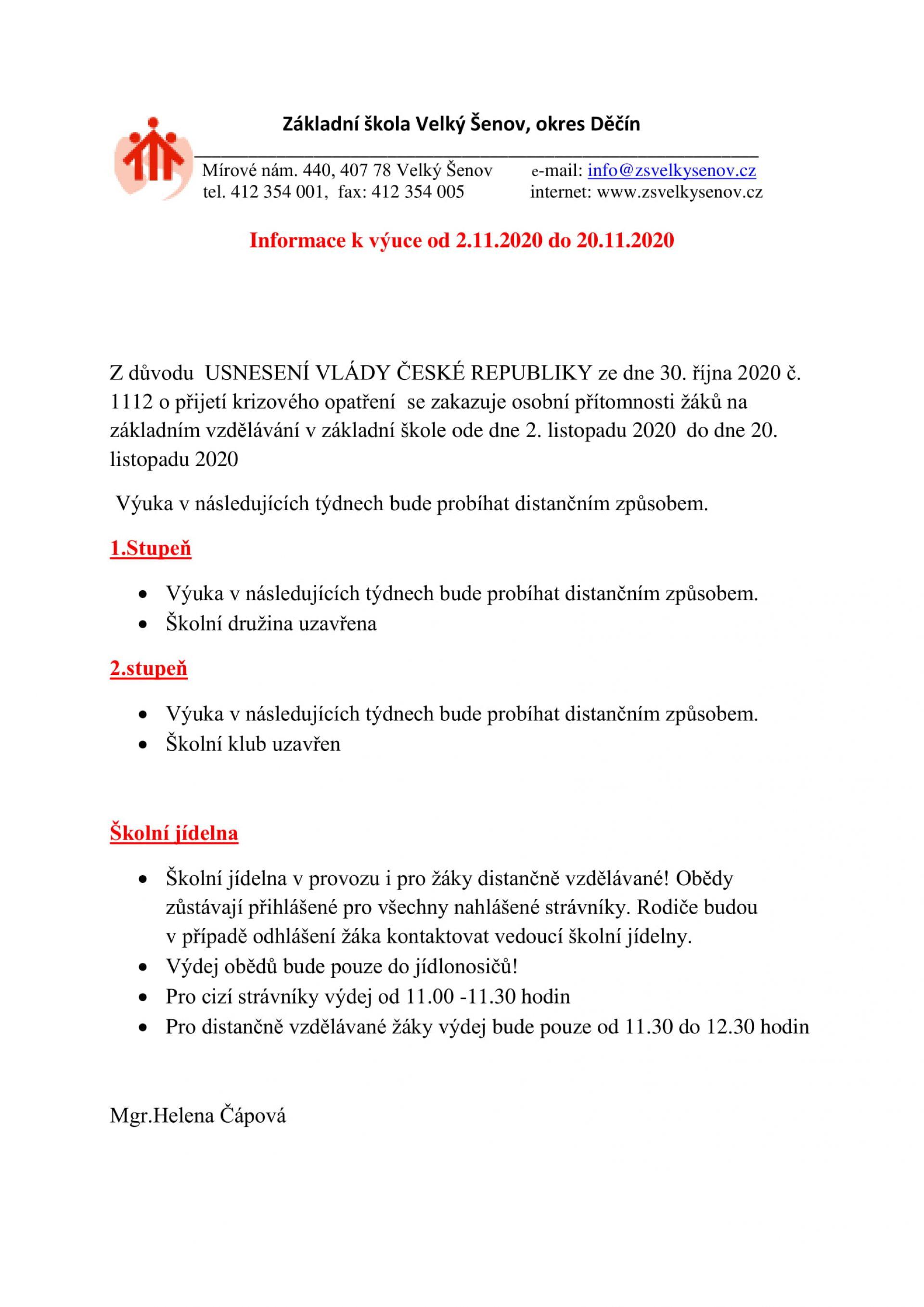 Informace k výuce od 2.11.2020