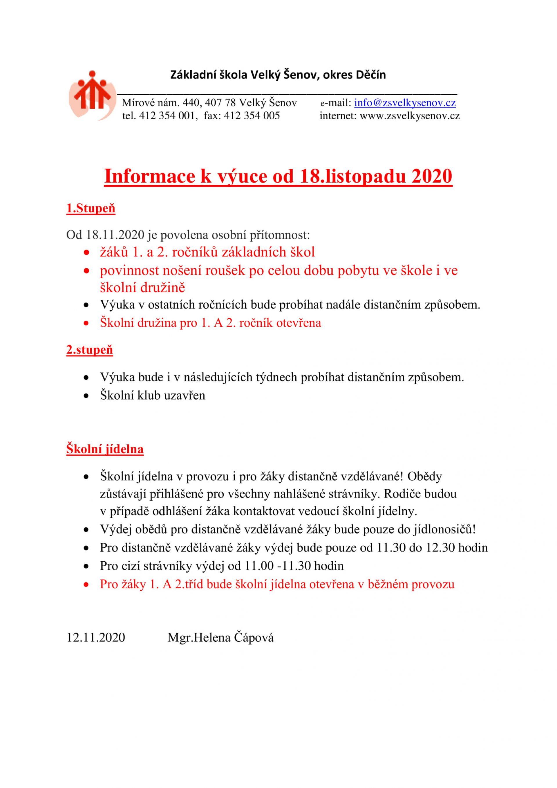Informace k výuce od 18.11.2020