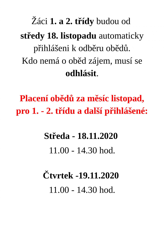Obědy od 18. 11. 2020