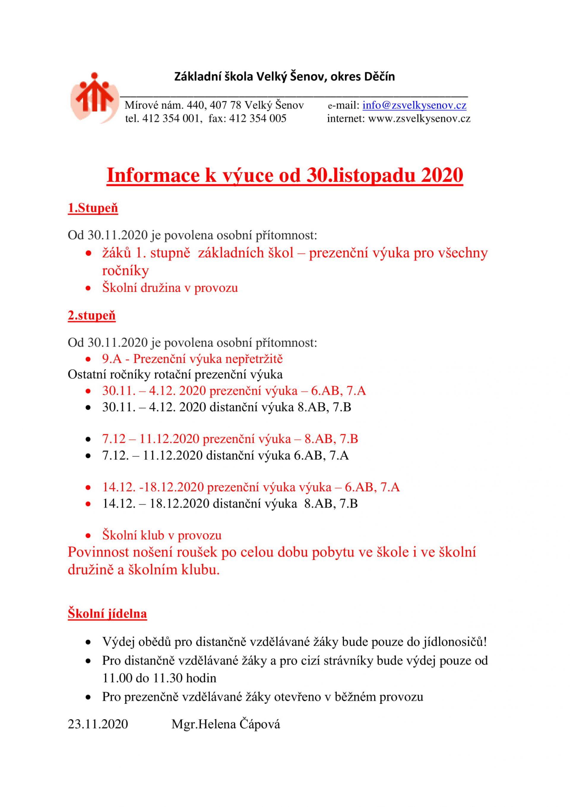 Informace k výuce od 30.11.2020