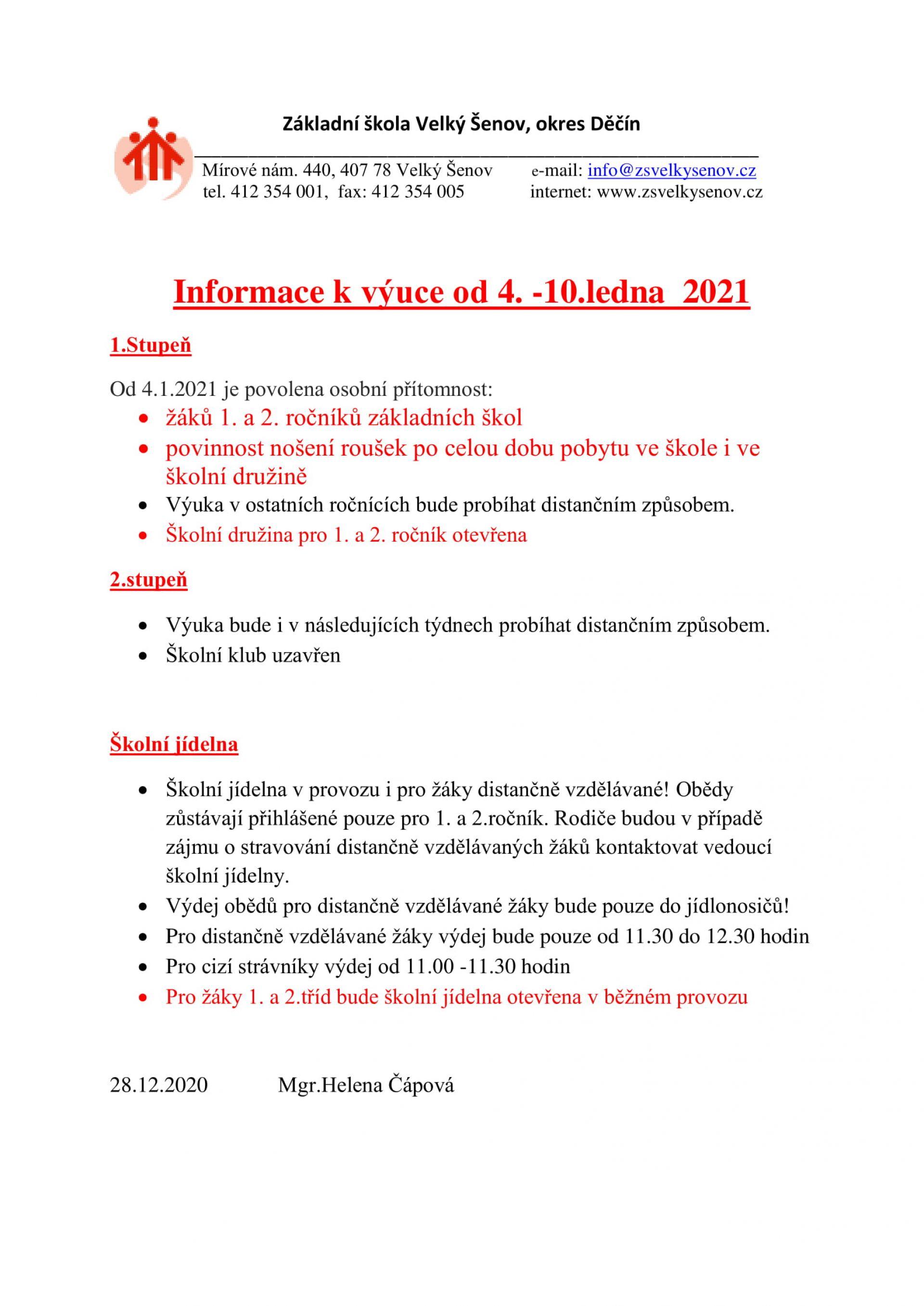 Informace k výuce od 4.1.2021