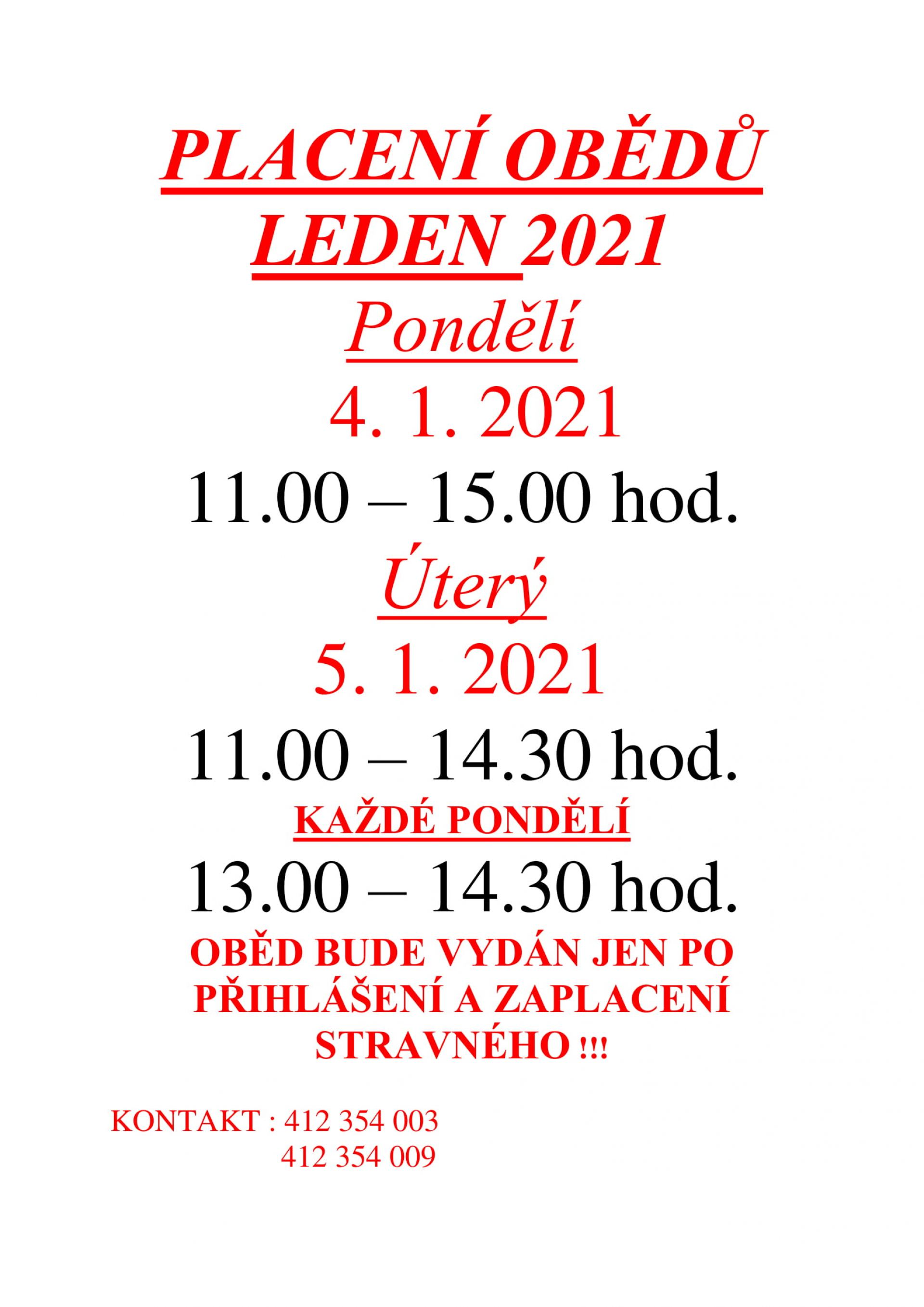 Placení obědů na leden 2021