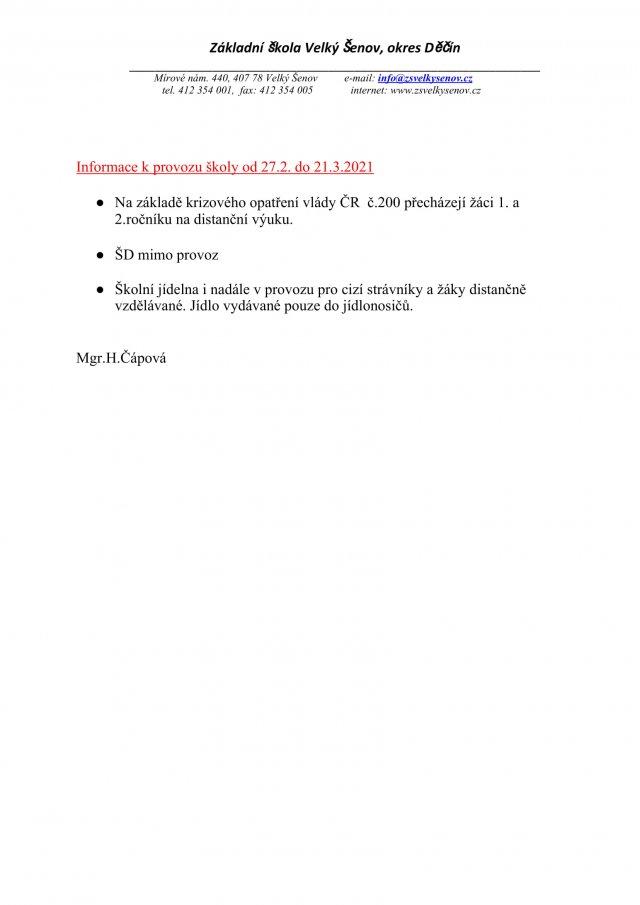 Informace k provozu 27.2. do 21.3.2021