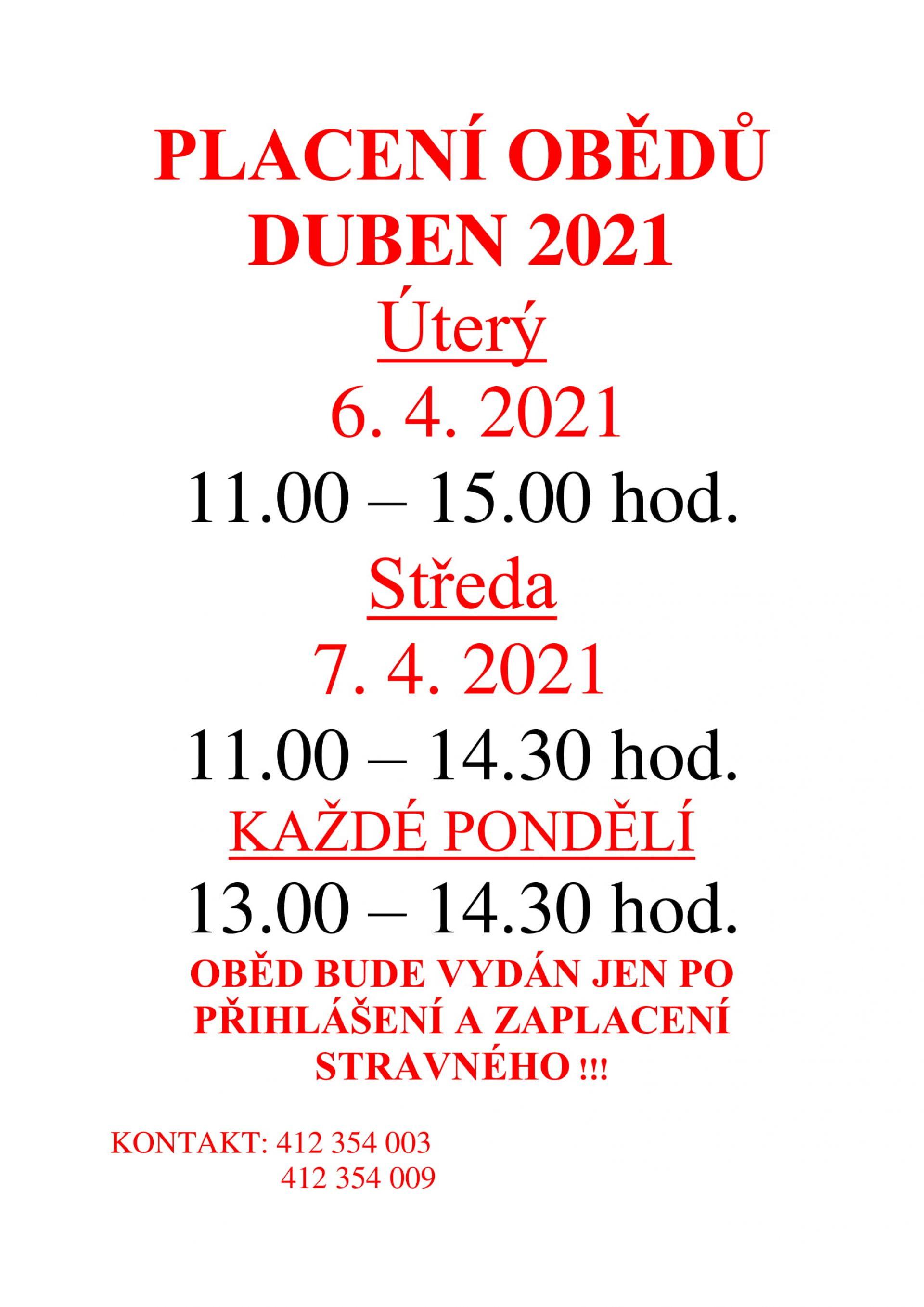 Placení obědu na duben 2021