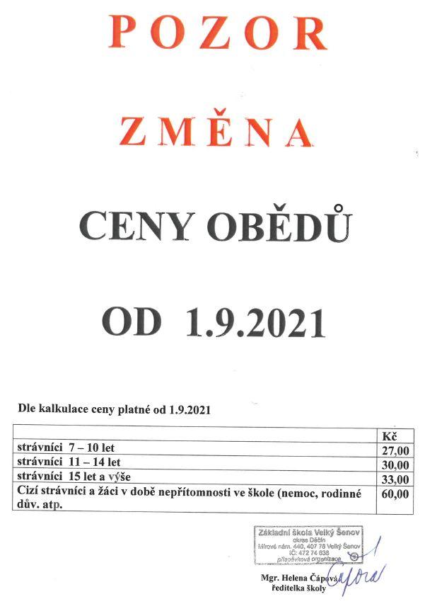 Pozor změna ceny obědů od 1. 9. 2021